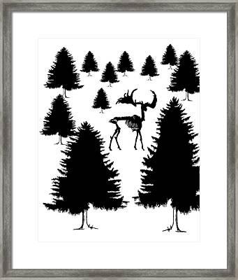 Deer Skeleton Framed Print by Mordax Furittus