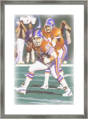 Denver Broncos John Elway Framed Print by Joe Hamilton