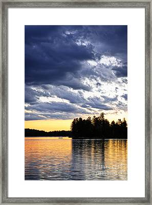 Dramatic Sunset At Lake Framed Print by Elena Elisseeva
