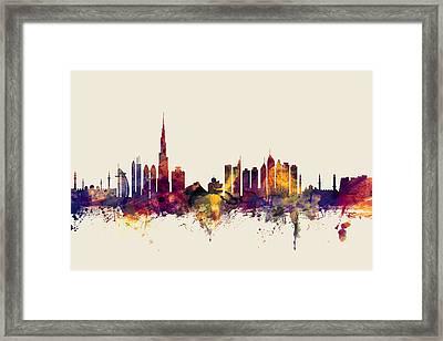 Dubai Skyline Framed Print by Michael Tompsett