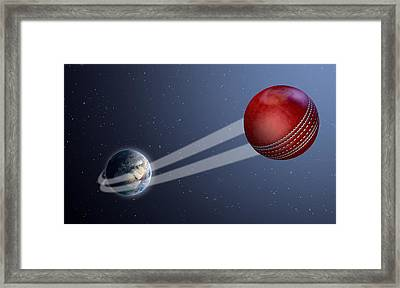 Earth With Ball Swoosh In Space Framed Print by Allan Swart