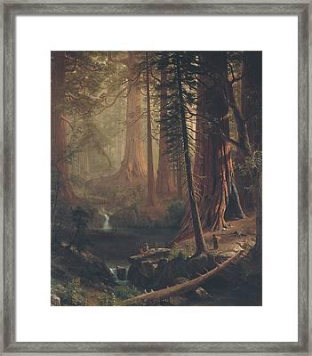 Giant Redwood Trees Of California Framed Print by Albert Bierstadt