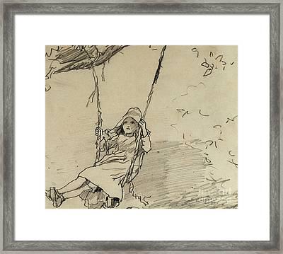 Girl On A Swing Framed Print by Winslow Homer