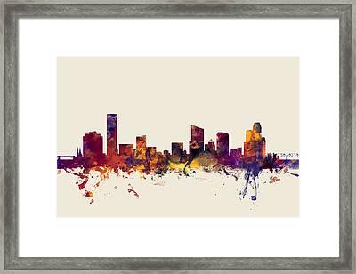 Grand Rapids Michigan Skyline Framed Print by Michael Tompsett