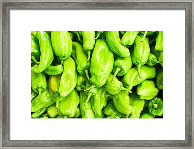 Green Jalapeno Peppers Framed Print by Tom Gowanlock