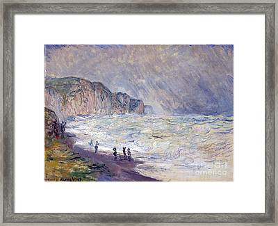 Heavy Sea At Pourville Framed Print by Claude Monet