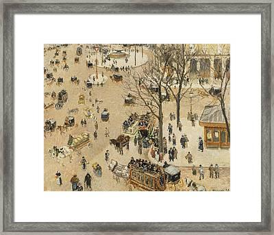 La Place Due Theatre Francais  Framed Print by Camille Pissarro