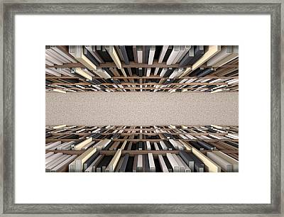 Library Bookshelf Aisle Framed Print by Allan Swart