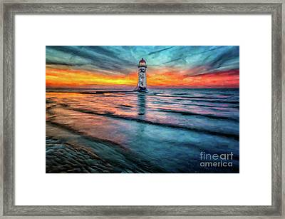 Light House Sunset Framed Print by Adrian Evans