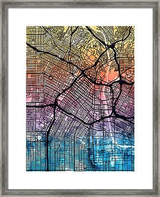 Los Angeles City Street Map Framed Print by Michael Tompsett
