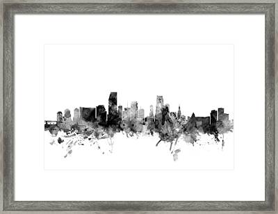 Miami Florida Skyline Framed Print by Michael Tompsett