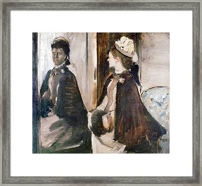Mrs Jeantaud In The Mirror Framed Print by Edgar Degas