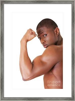 Muscular Black Man Framed Print by Piotr Marcinski