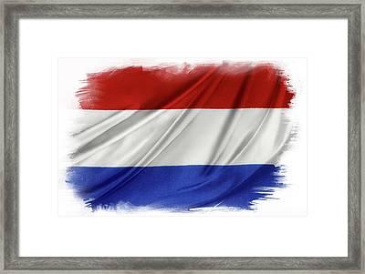 Netherlands Flag Framed Print by Les Cunliffe
