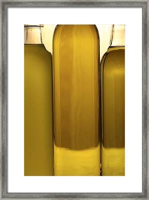 3 Olive Oil Bottles Framed Print by Frank Tschakert