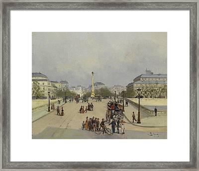 Parisian Street Scene Framed Print by Eugene Galien Laloue