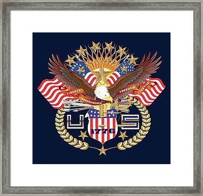 Patriotic America Mixed Designs W-transparent Back Pick Your Color Framed Print by Bill Campitelle