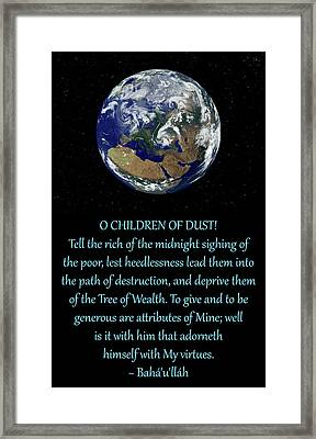 Persian Hidden Word 49 Framed Print by Glenn Franco Simmons' Baha'i Writings As Art