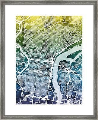 Philadelphia Pennsylvania City Street Map Framed Print by Michael Tompsett