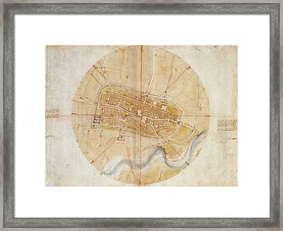 Plan Of Imola Framed Print by Leonardo da Vinci