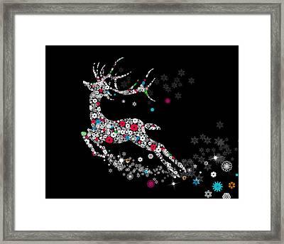 Reindeer Design By Snowflakes Framed Print by Setsiri Silapasuwanchai