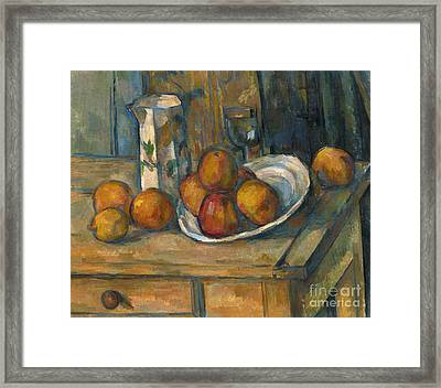 Still Life With Milk Jug And Fruit Framed Print by Paul Cezanne