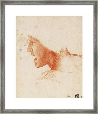 Study Of A Warrior's Head For The Battle Of Anghiari Framed Print by Leonardo da Vinci