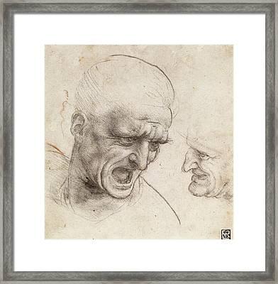 Study Of Two Warriors' Heads For The Battle Of Anghiari Framed Print by Leonardo da Vinci