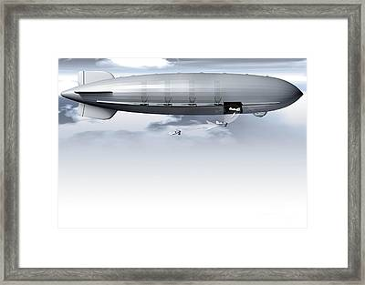 Uss Macon, Artwork Framed Print by Claus Lunau