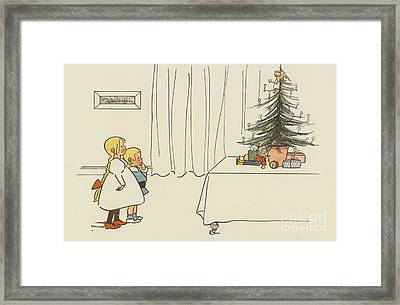 Vintage Christmas Card Framed Print by German School
