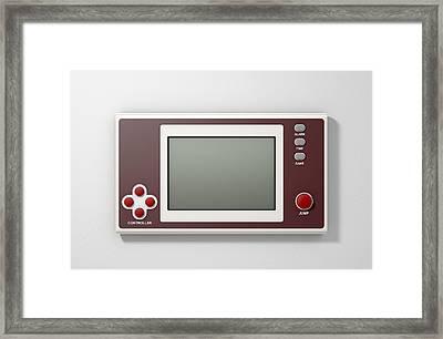 Vintage Handheld Video Game Framed Print by Allan Swart