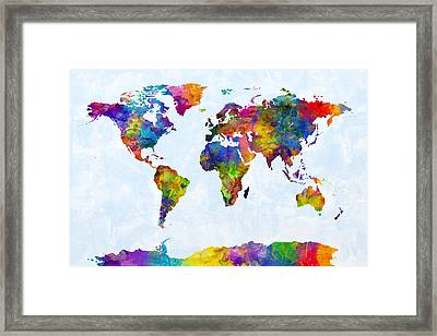 Watercolor Map Of The World Map Framed Print by Michael Tompsett
