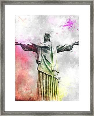 Jesus Christ - Religious Art Framed Print by Elena Kosvincheva