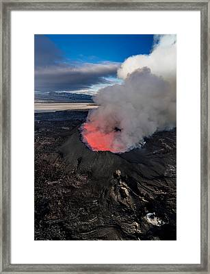 Volcano Eruption At The Holuhraun Framed Print by Panoramic Images