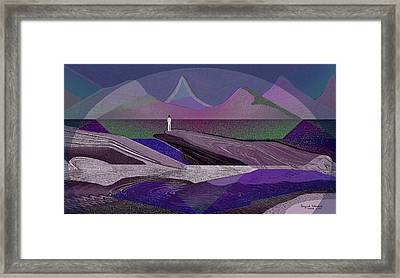 332 - Man On The Rocks  Framed Print by Irmgard Schoendorf Welch