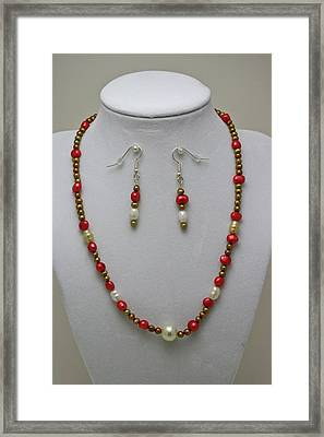 3539 Pearl Necklace And Earring Set Framed Print by Teresa Mucha