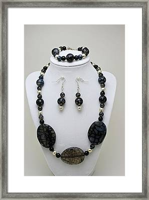 3548 Cracked Agate Necklace Bracelet And Earrings Set Framed Print by Teresa Mucha