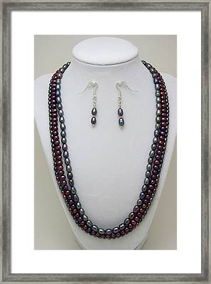 3562 Triple Strand Freshwater Pearl Necklace Set Framed Print by Teresa Mucha