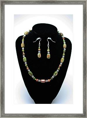 3565 Unakite Necklace And Earrings Set Framed Print by Teresa Mucha