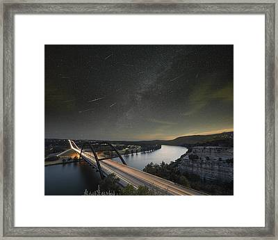 360 Bridge And The Perseid Meteor Shower Framed Print by Rob Greebon