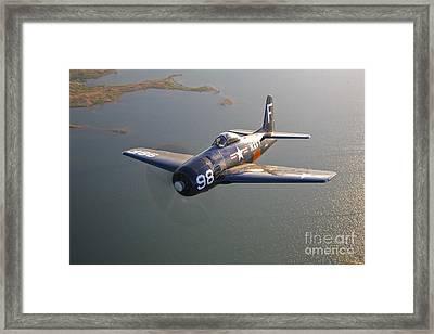 A Grumman F8f Bearcat In Flight Framed Print by Scott Germain