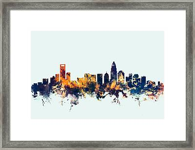 Charlotte North Carolina Skyline Framed Print by Michael Tompsett