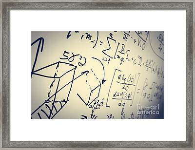 Complex Math Formulas On Whiteboard. Mathematics And Science With Economics Framed Print by Michal Bednarek