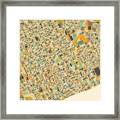 Detroit Map Framed Print by Jazzberry Blue