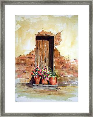 Door With Pots Framed Print by Sam Sidders