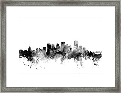 Edmonton Canada Skyline Framed Print by Michael Tompsett