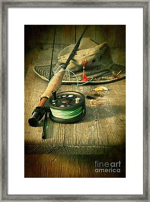 Fly Fishing Equipment With Old Hat On Bench Framed Print by Sandra Cunningham