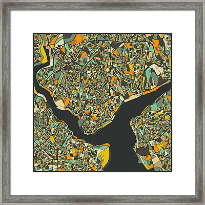 Istanbul Map Framed Print by Jazzberry Blue