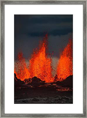 Lava Fountains At The Holuhraun Fissure Framed Print by Panoramic Images