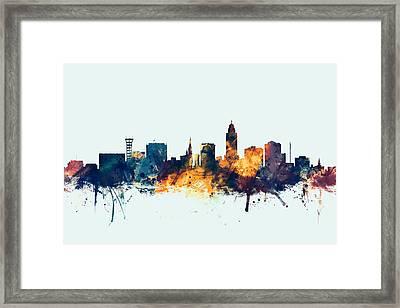 Lincoln Nebraska Skyline Framed Print by Michael Tompsett